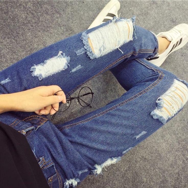 Купить товарНовый 2016 мода Большой размер S ~ Xxl нищий джинсы женщина свободного покроя высокой талией женские брюки отверстие прямые бойфренд джинсы для женщин в категории Джинсына AliExpress.  Новый 2016 мода плюс размер S ~ XXL нищий джинсы женщина вскользь женские брюки с высокой талией отверстие прямо парень