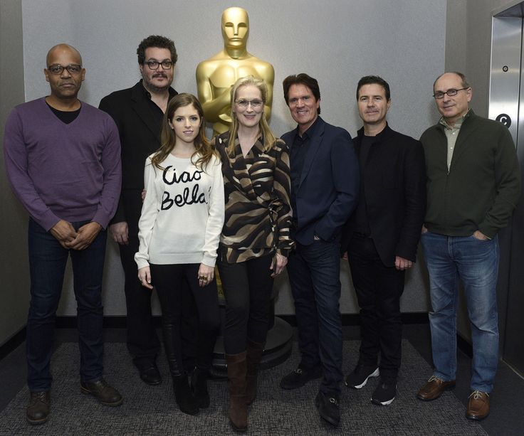 Joe Neumaier, Rob Marshall, Meryl Streep, Anna Kendrick, James Lapine, Dion Beebe, and Wyatt Smith attend the The Academy Of Motion Picture Arts And Sciences Hosts An Official Academy Members Screening Of INTO THE WOODS at The Academy Theatre at Lighthouse International on December 9, 2014 in New York City.