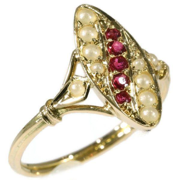 Online veilinghuis Catawiki: Victoriaanse rose gouden ring met zaadpareltjes en rode strass - 1880