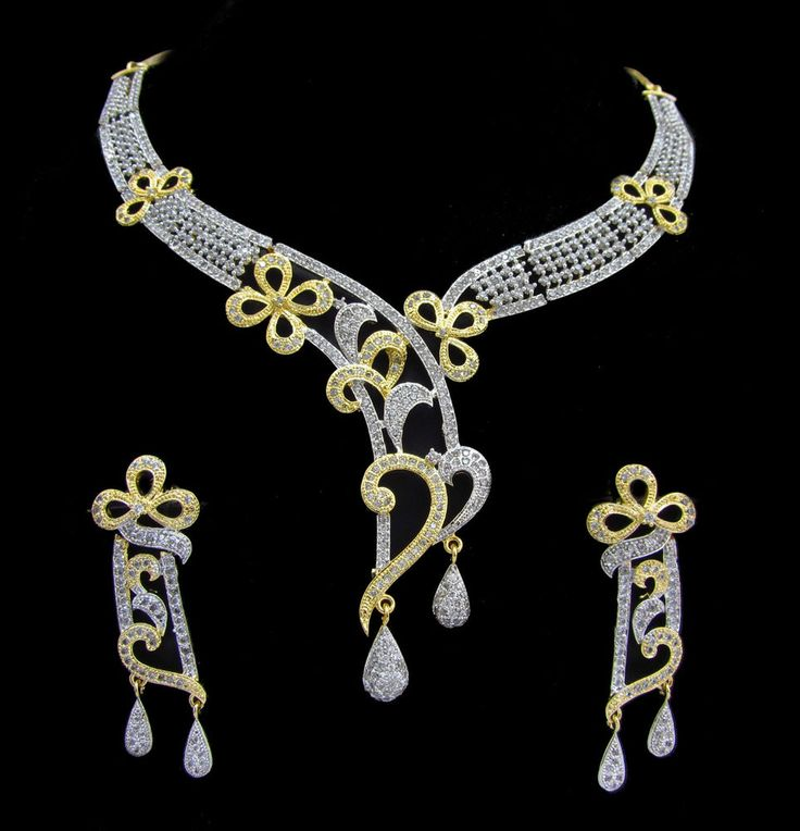 Indian CZ AD Necklace Gold & Silver Two Tone Bollywood Bridal Swam Jewelry 148