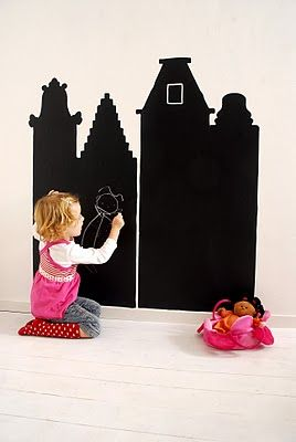 This would be so cute in a Lil Girls room, use Chalk Paint and paint a castle outline on the wall and the kids can draw in the windows doors ect.. and for Boys do a castle w/ dragan, or track on the wall ect..: