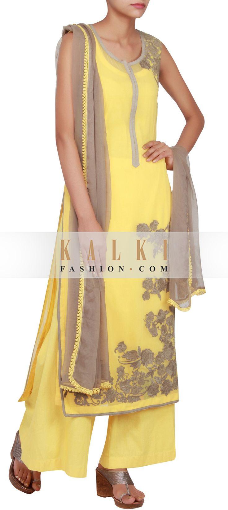 Get this beautiful Salwar-Kameez http://www.kalkifashion.com/yellow-georgette-straight-cut-salwar-kameez-embellished-in-thread-work-only-on-kalki.html