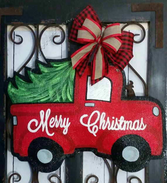 Christmas Tree Truck Burlap Door Hanger by ConnieRisleyCrafts