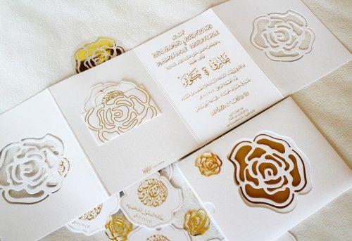 Oh So Beautiful Paper: Modern Gold + Rose Arabic Wedding Invitations