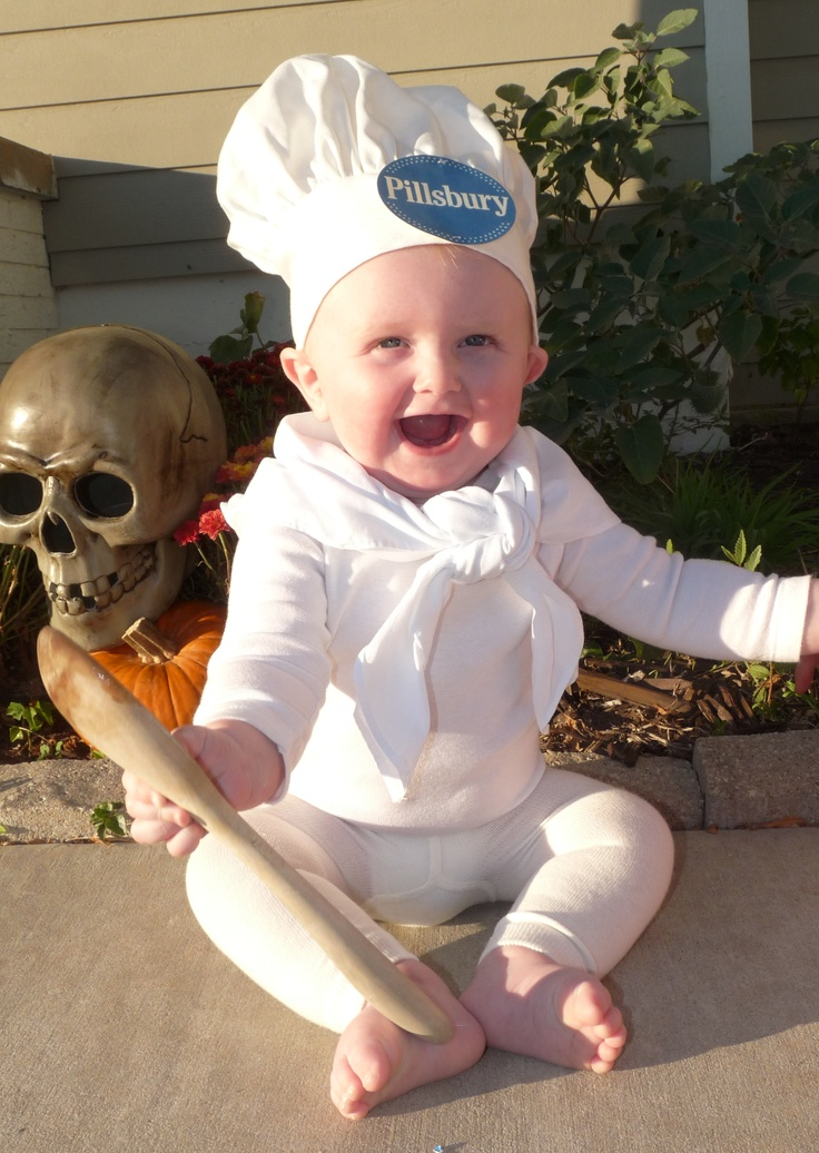 DIY Halloween costume - Pillsbury dough boy. This was a last minute costume but I think it turned out great. We had the onesie, I couldn't find white sweatpants so I picked up some baby girls leggings, I found both the hat and scarf at Michael's. I printed of the tag but I've seen where people make it out of felt.