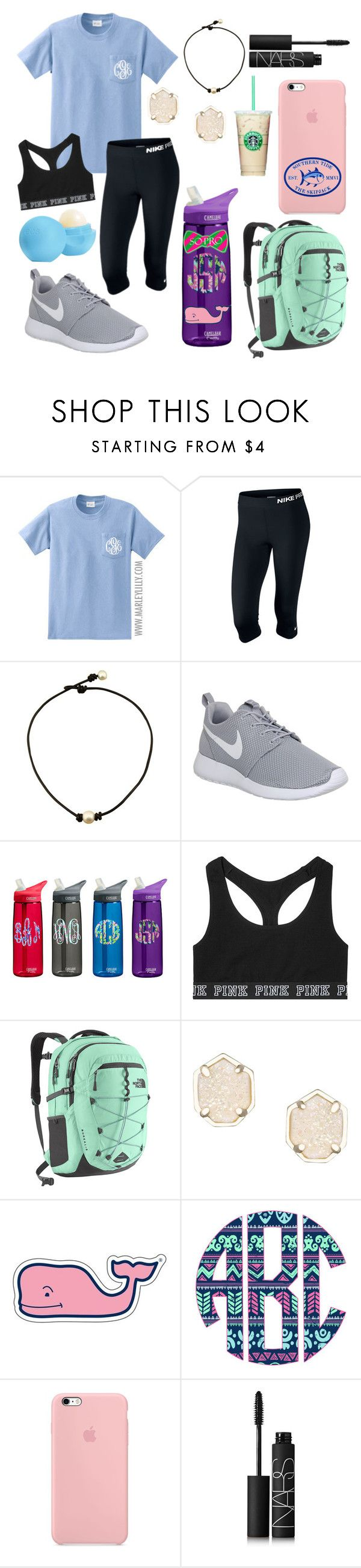 """Thank god for Friday"" by jadenriley21 ❤ liked on Polyvore featuring NIKE, Victoria's Secret, The North Face, Kendra Scott, Vineyard Vines, Southern Tide, NARS Cosmetics and Eos"