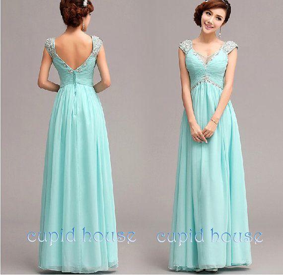 Mint Prom Dress, Cheap  Prom Dress, Long Prom Dress, Bead Prom Dress, Chiffon Mint Coral Pink Purple Blue Bridesmaid Dress Evening Dress on Etsy, $99.00