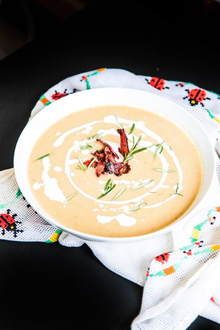 Parsnip Chestnut Soup with Apples and Bacon | Berries and Spice