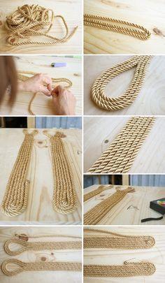 Diy cinturón de cordón de seda dorado2