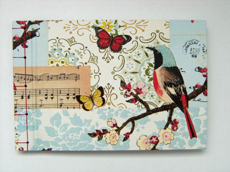 """Small """"Birds & Butterflies"""" Wedding Guest book, with contrast stab-stitch side binding - italian paper available at creme de la creme"""