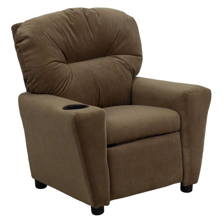 Flash Furniture Microfiber Kids Recliner with Cup Holder - Brown - BT-7950-KID-MIC-BRWN-GG