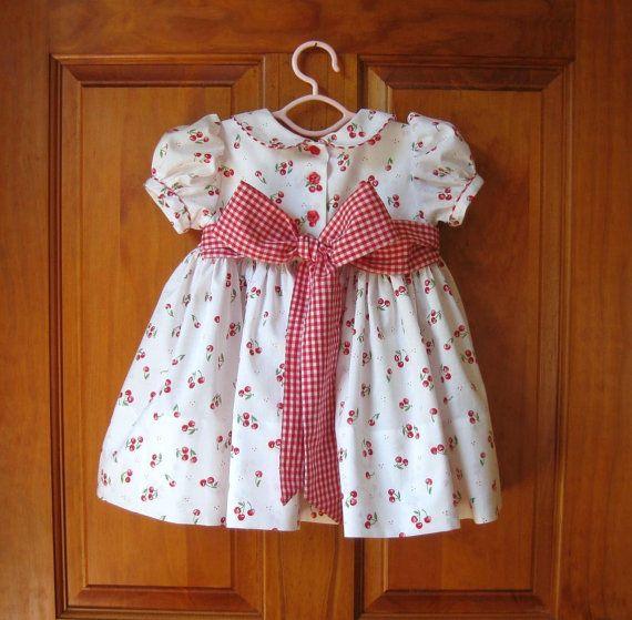 Baby girl toddler hand smocked dress red cherries on white &