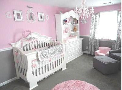 Pretty Baby S Pink And Gray Princess Nursery Room With White Damask Crib Bedding Set Nurseries Pinterest