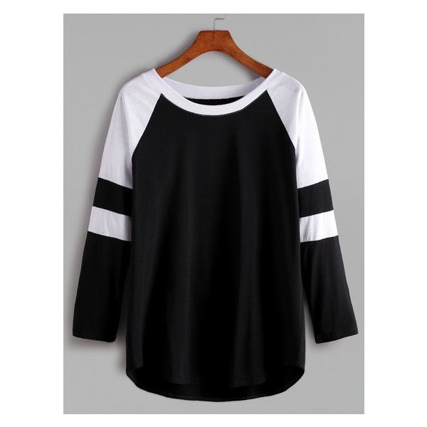 Black And White Contrast Raglan Sleeve T-shirt ($11) ❤ liked on Polyvore featuring tops and t-shirts