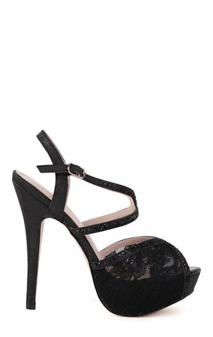 Deb Shops Open Toe Platform Pump with Lace Stone Band and Crossover Straps $30.67