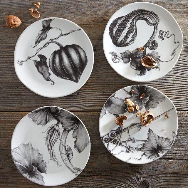 Laura Zindel Thanksgiving Dessert Plates contemporary dinnerware
