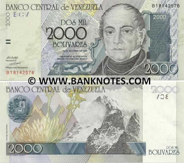 Venezuela 2000 Bolivares 1998  Front: Andrés Bello; Back: Coat of Arms of Republic of Venezuela; Mountain Pico Bolívar; Espeletia grandiflora (Frailejón) flowers in the Venezuelan Páramo; Watermark: Portrait of Andrés Bello; Printer: Casa de la Moneda, Venezuela.