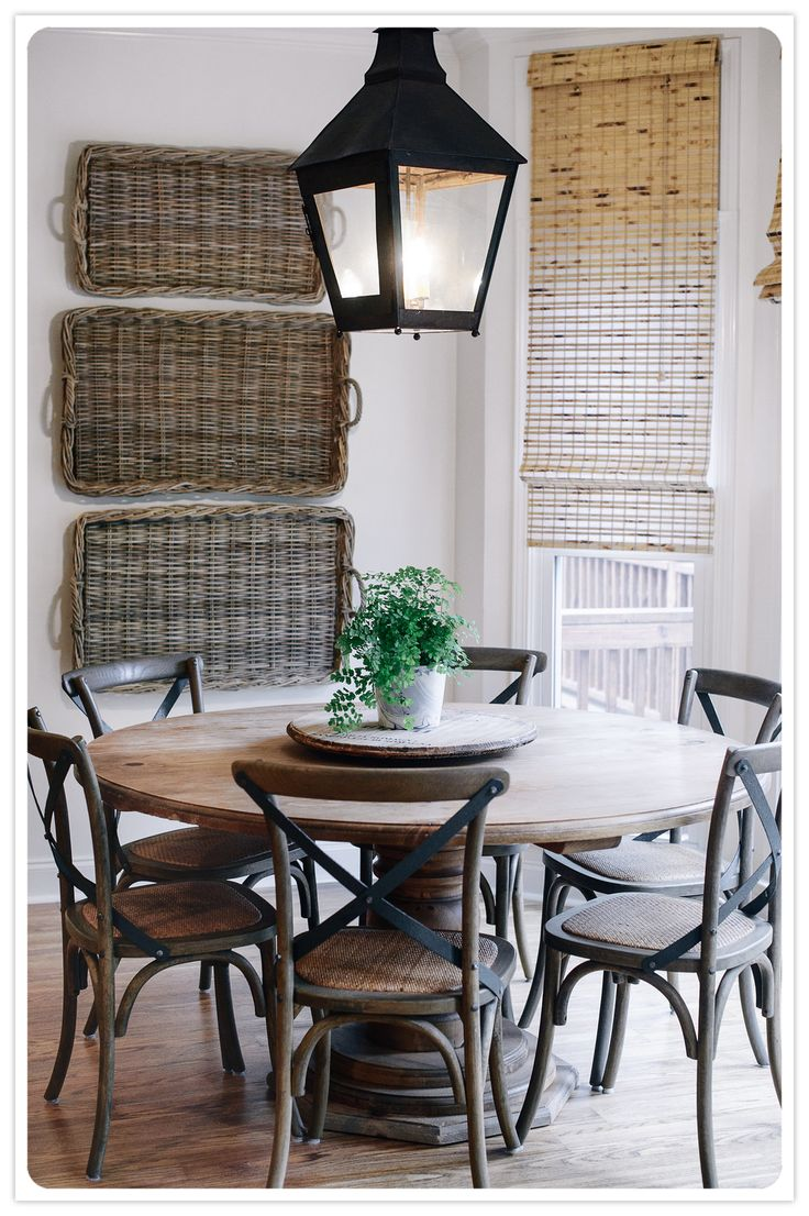 breakfast nook. Love the baskets on the wall