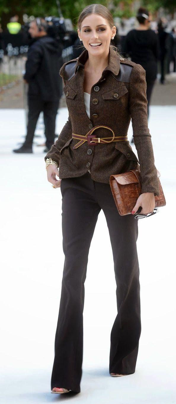 Beautiful brown blazer on Olivia Palermo