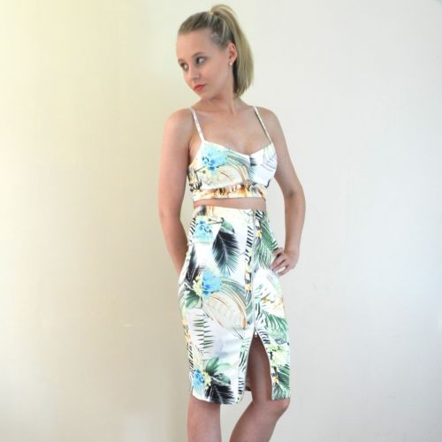 Feeling Flirty? This is the perfect summer Crop Set for you!! A comfortable stretch fabric and beautiful print. Adjustable straps, rear exposed zip and a cute cutout in the top and a midi skirt with a two way zip in the skirt, show as much or as little leg as you want. Shop it now @ http://stores.ebay.com.au/Miss-Tarli?_rdc=1