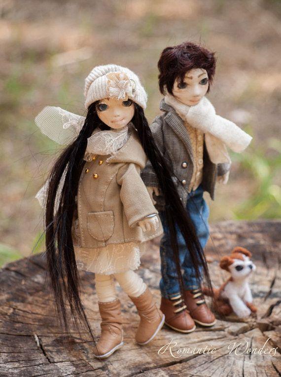Emile and Amy. Handmade textile dolls