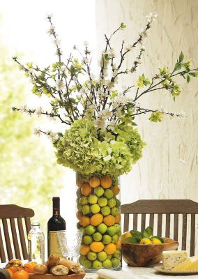 Love this you could put another skinny vase in the - Flowers for dining room table ...