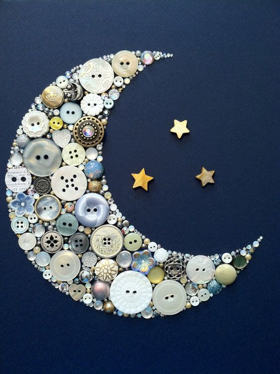 Button Art Crescent Moon and Stars Gamma Phi Beta Delta Tau Delta Home Decor Baby Nursery. Nx
