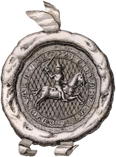 Пячатка Вітаўта з Пагоняй (1385).    Stamp of Vitaut - ruler (1392–1430) of the Grand Duchy of Lithuania.