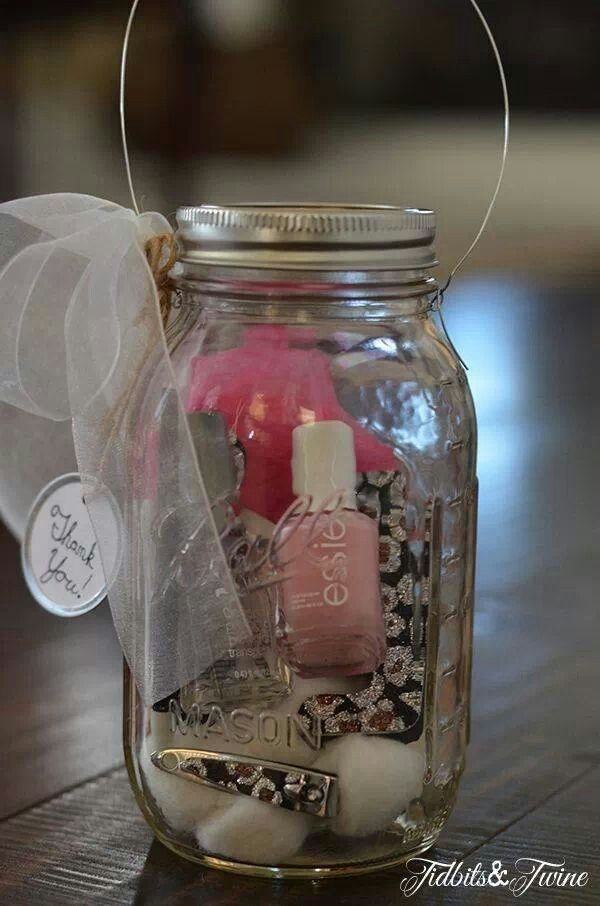 Cute birthday gift or party favor -fill a mason jar with a mini nail polish, loofa, nail filer, nail clippers, and bath beads.