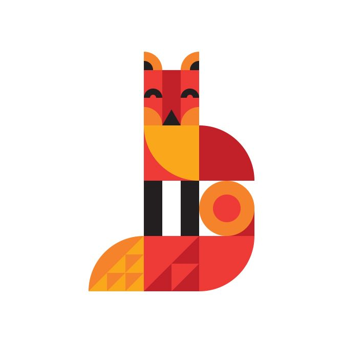 A bold and minimal fox illustration // Ty Wilkins