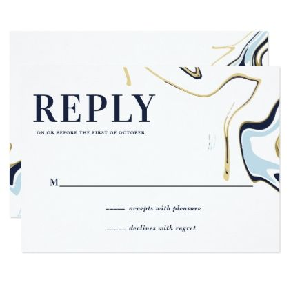 Marble Agate Wedding Reply Card | Navy and Gold - gold wedding gifts customize marriage diy unique golden
