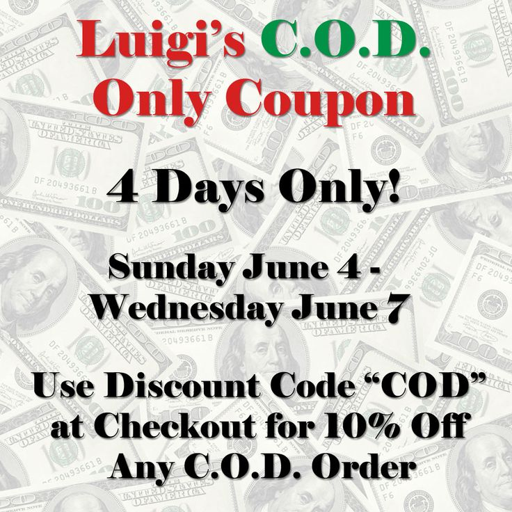 """Luigi's Pizza and Pasta of North Hills - Glenside is pleased to announce a Special four-day C.O.D. Coupon event. From Sunday, June 4 – Wednesday, June 7, you can get 10% off an online C.O.D. purchase at lugisglenside.com by typing """"COD"""" in the Discount box during check-out."""