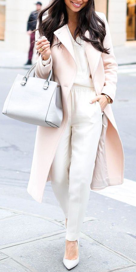 #fall #fashion / pink coat + cream trousers