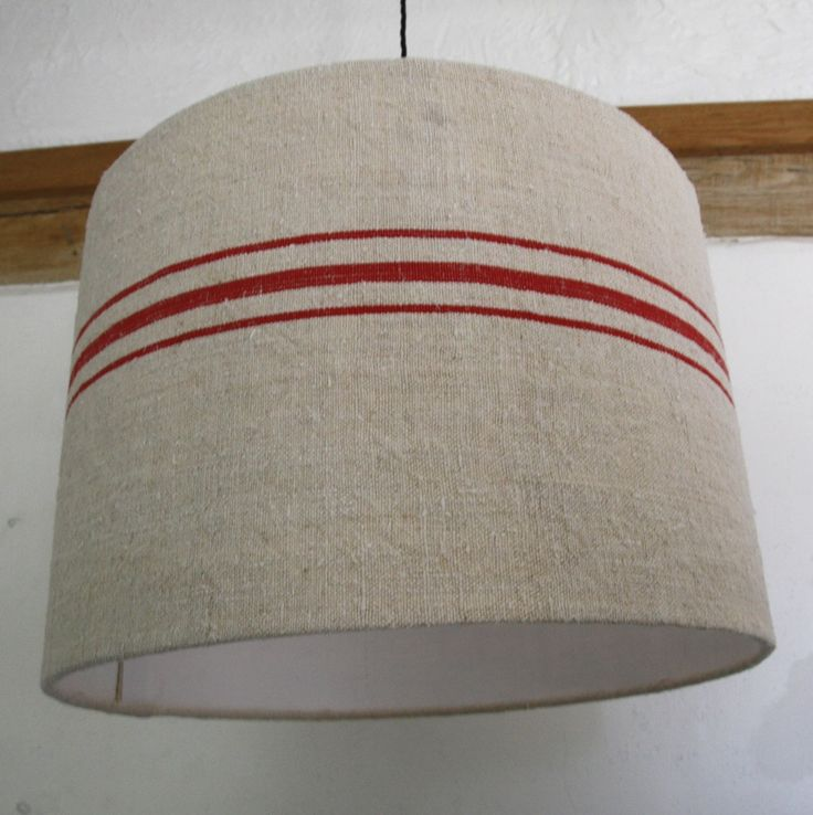 Image of Antique grain sack 45cm  lampshade -red stripes