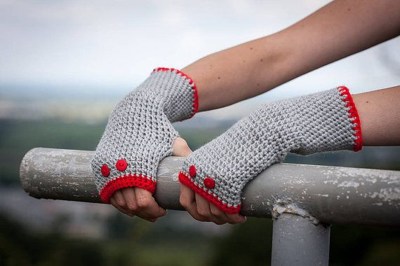 Red Grey Fingerless Gloves / Soft Crochet Arm by RUKAMIshop