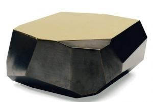 Arik Levy  Sculpture table in golden brass with black patina. Limited edition of three pieces, one artist proof, one prototype.  2008 H_25 cm The abstract nature of natural form is sublimated in the richest of minerals