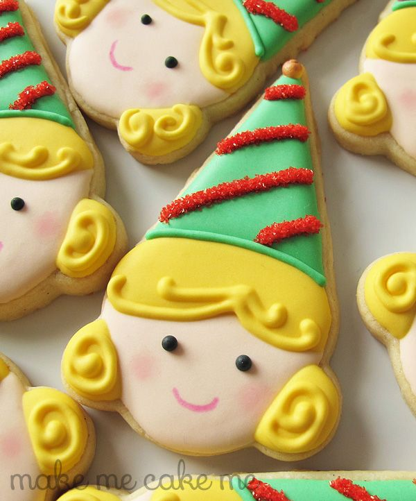 Green Hat Elf Girl   Make Me Cake Me Could be used as princess cookies