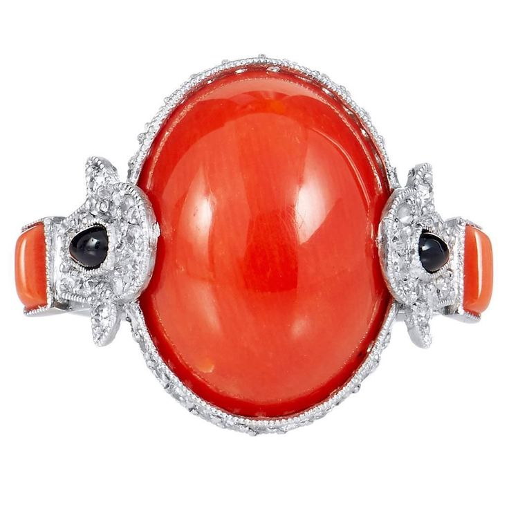 8.20 Carat Red Coral Onyx Diamond Ring
