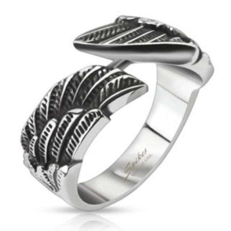 Stainless Steel Angel Wings Cast Band Ring - Width 9mm. | eBay!