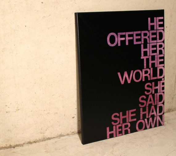 He Offered Her the World  handmade quote on canvas by ElettraMella