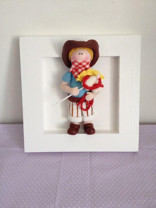 Cuadro infantil decorativo, con muñeco de porcelana en frío ideal niños
