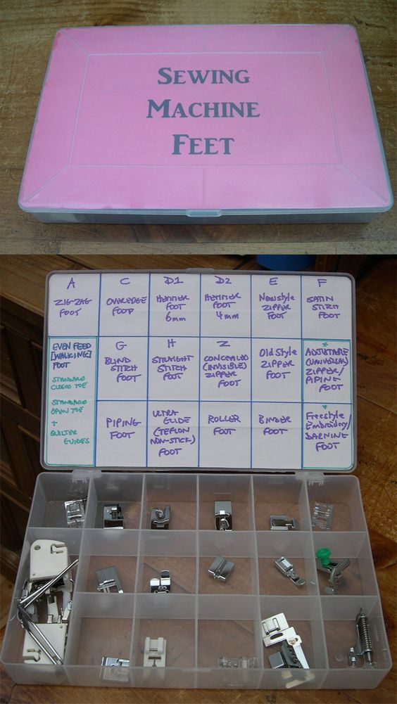 DIY :: Sewing Machine Feet Storage http://sew-whats-new.com/profiles/blogs/sewing-machine-feet-storage