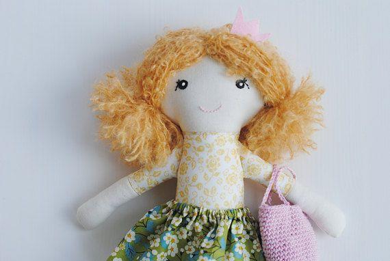 Rag doll cloth doll Rosa by pompondolls on Etsy