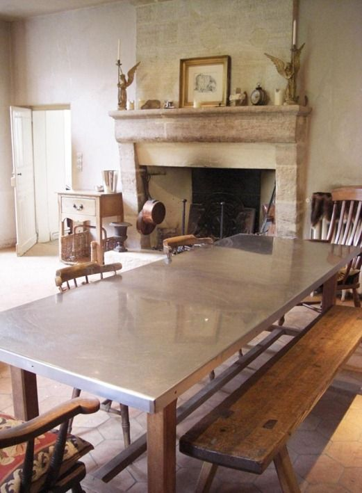stainless steel table top on wooden legs. beautiful ideas. Home Design Ideas