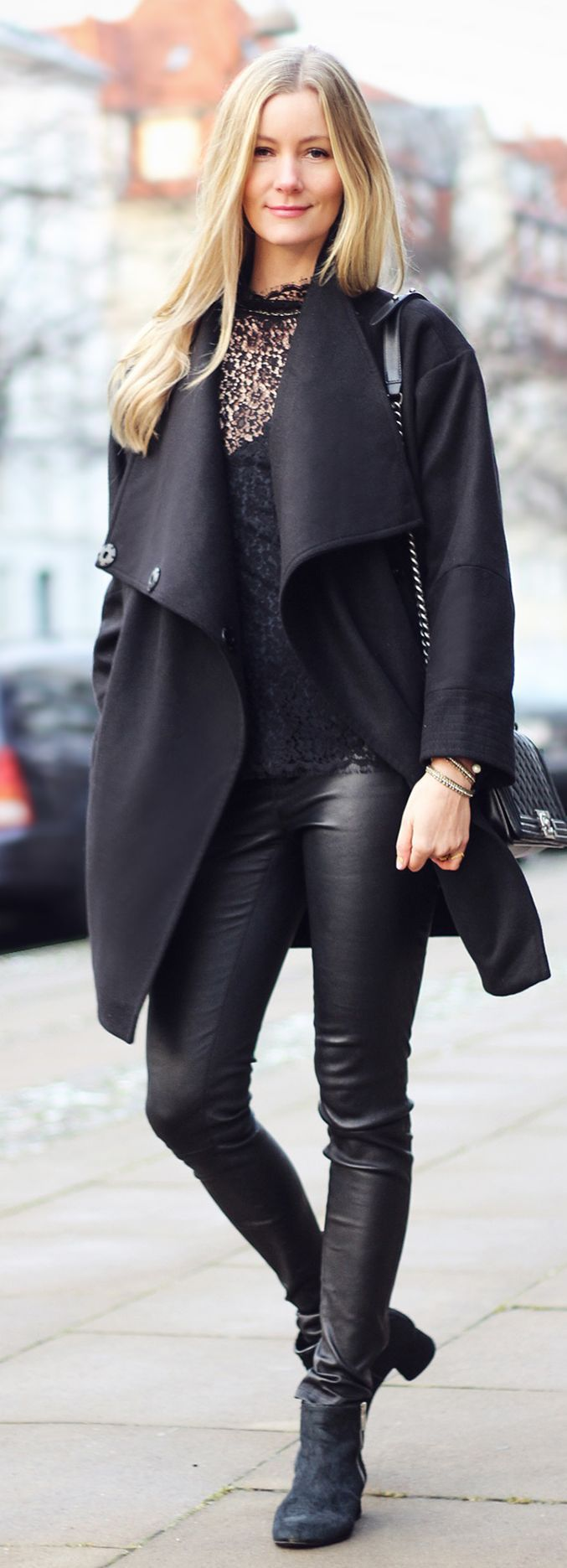 Black Lined Lace Blouse--minus the boots.  I would wear a different boot or heel