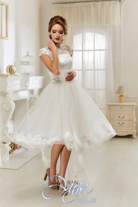 Cвадебное платье Айрин: платье-пачка, винтажный стиль, с асимметричной длиной, с вырезом под горлышко, с пышной юбкой, шлейф возможен, модель 2016 года, с плечиками, платье, эксклюзивное в Москве, для пляжной церемонии, фатиновая юбка, юбка с кружевным фестоном, основная ткань: кружево, фатин