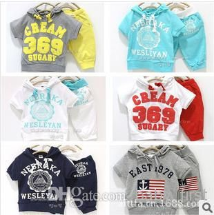 Wholesale Printed Set - Buy Alphabet Flag Numbers Printed Set Little Baby Girls Boys Casual Sports Set Outfit T-shirt Hooded + Pants Clothes, $9.09 | DHgate