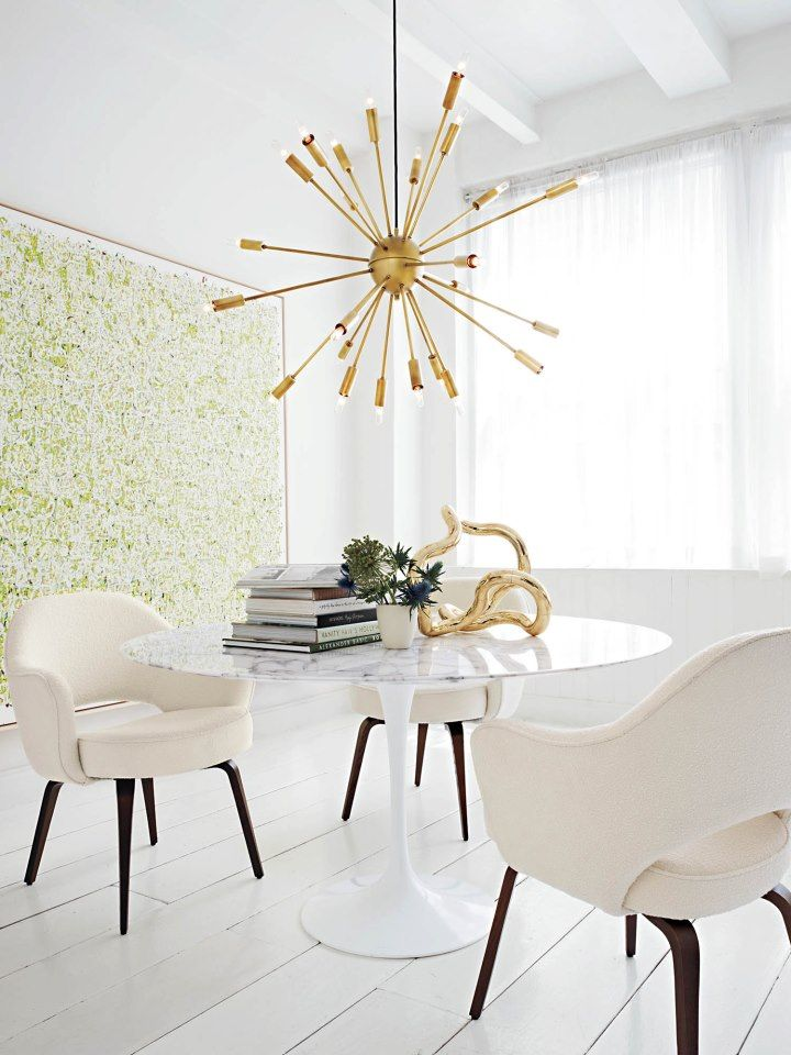 Interior Design Mid Century Hollywood Regency Dining Room Tulip Table With Marble Top Sputnik Brass Pendant Lamp Light Chandelier White Floors And