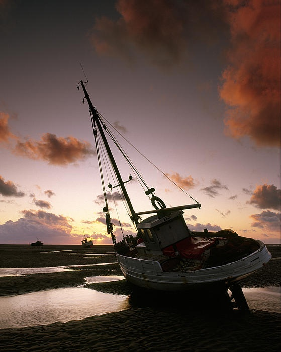 Fishing boats on the beach at Meols, Wirral, EnglandI lived here.