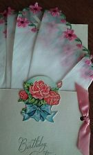 Vintage Birthday Card with Floral Handkerchief